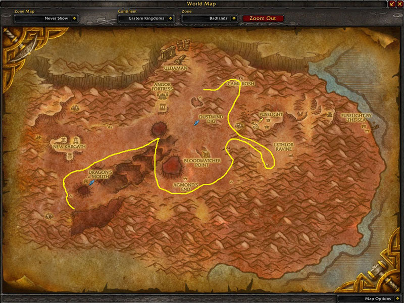 Map of Where to farm herbs at Badlands for Golden Sansam