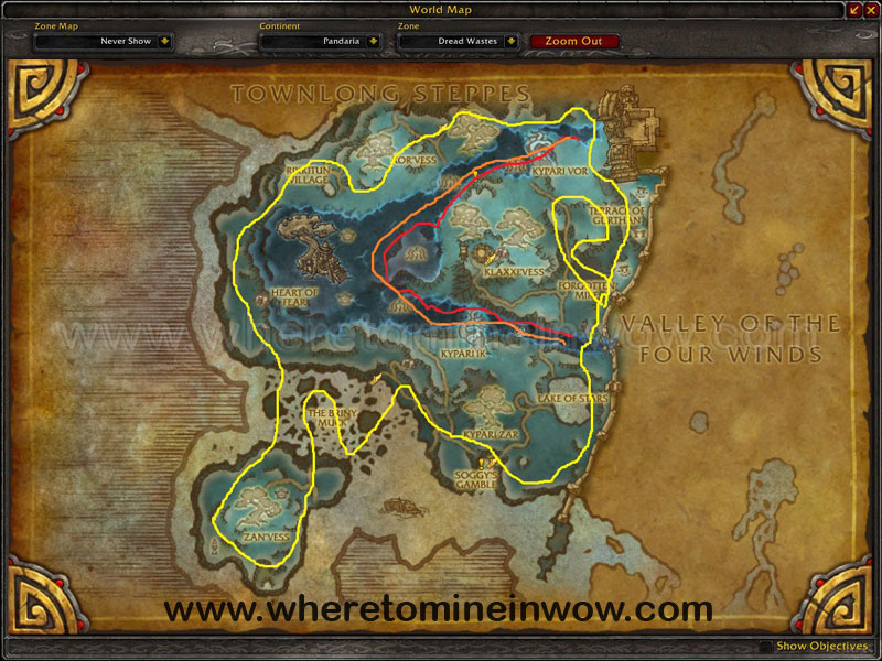Map of Where to mine in WoW for Trillium Ores at Dread Wastes