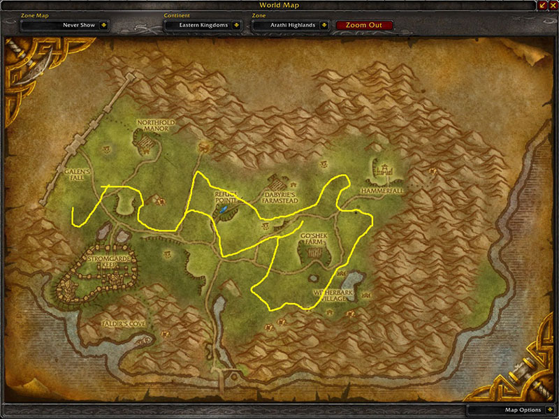 Map of Where to farm herbs at Arathi Highlands