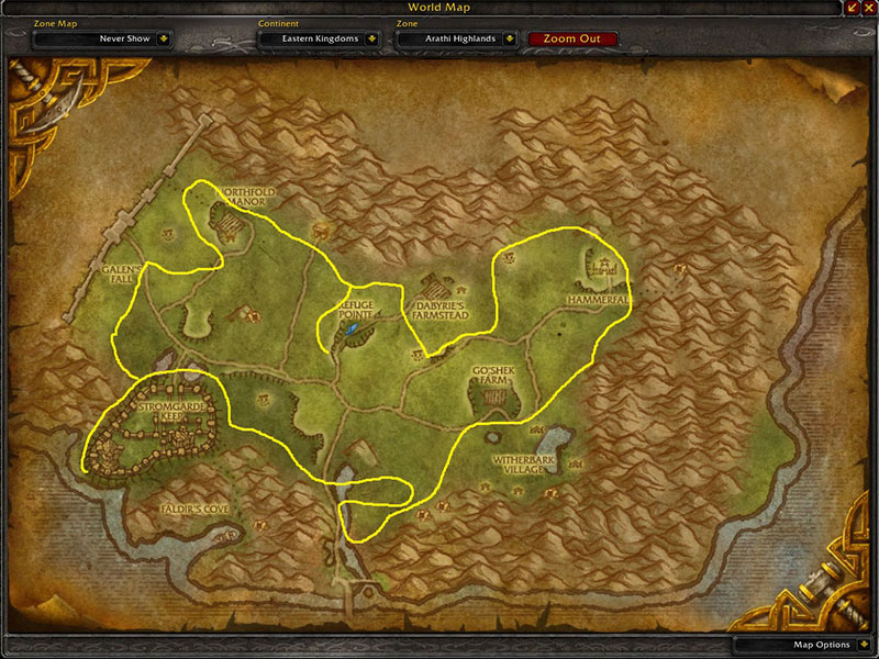 Map of Where to farm herbs at Arathi Highlands for Goldthorn