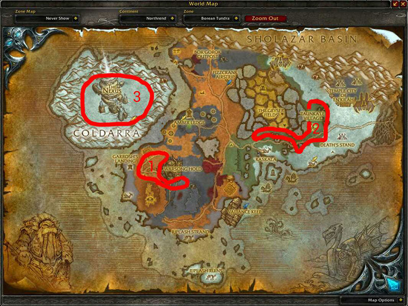 Map Of Where To Skin At Borean Thundra For Borean Leather