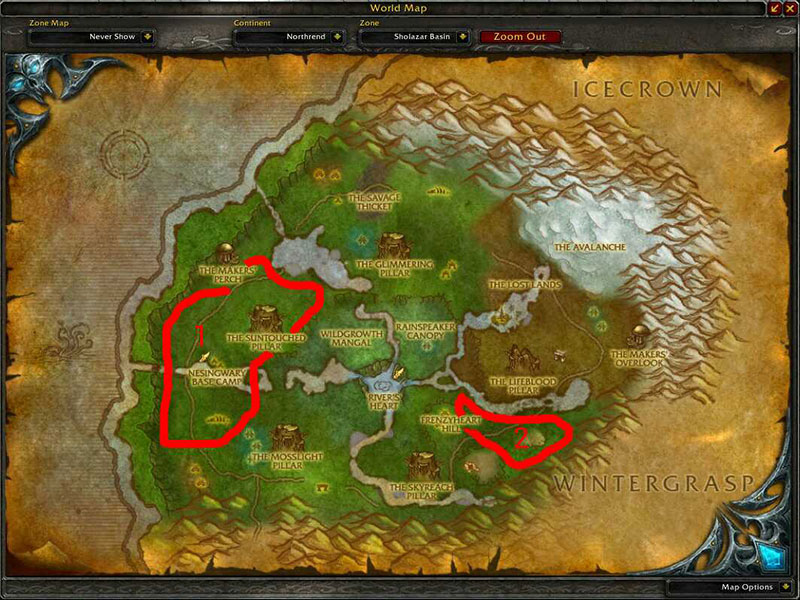 Map of Where to skin at Sholazar Basin for Borean Leather