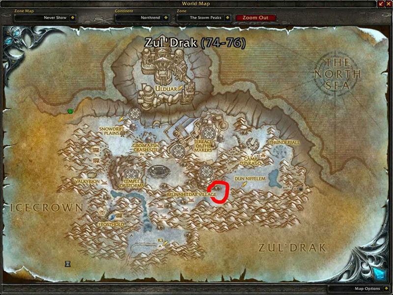 Map of Where to skin at The Storm Peaks for Borean Leather