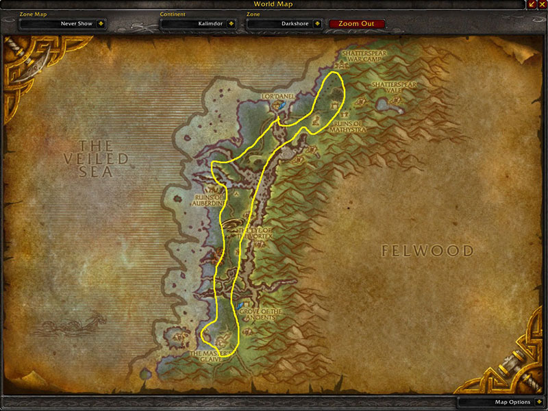 Map of Where to farm herbs at Darkshore