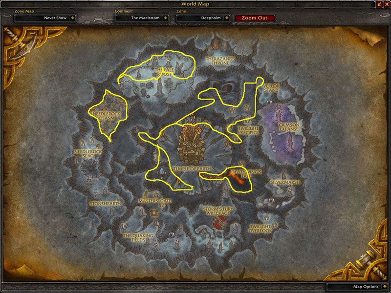 Map of Where to farm herbs at Deepholm for Cinderbloom