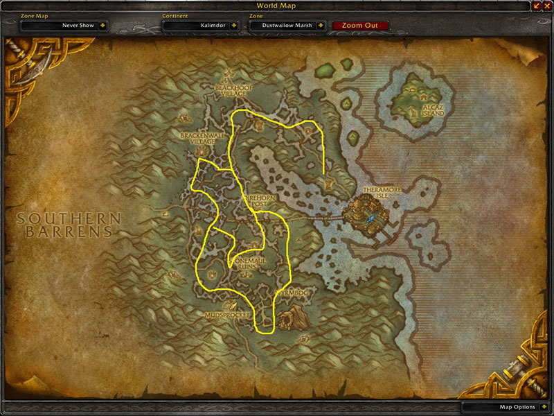 Map of Where to farm herbs at Dustwallow Marsh for Khadgar's Whisker