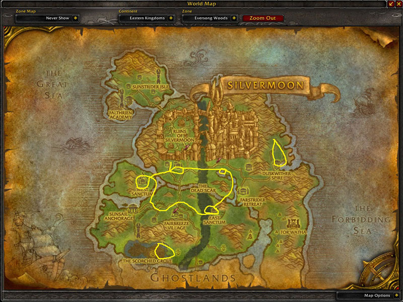 Map of Where to farm herbs at Eversong Woods