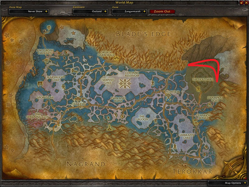 Map of Where to skin at Zangarmarsh for Fel Scales