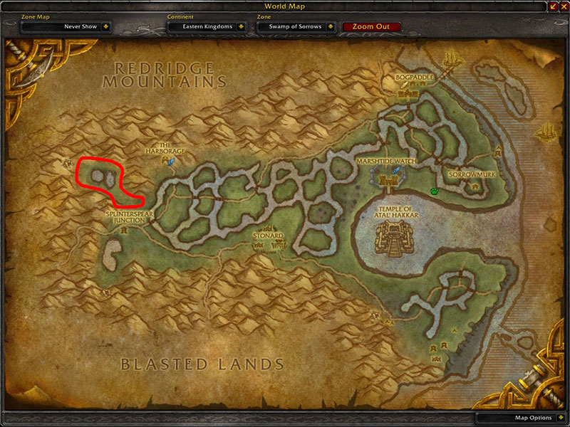 Map of Where to farm cloth at Swamp of Sorrows for Felcloth