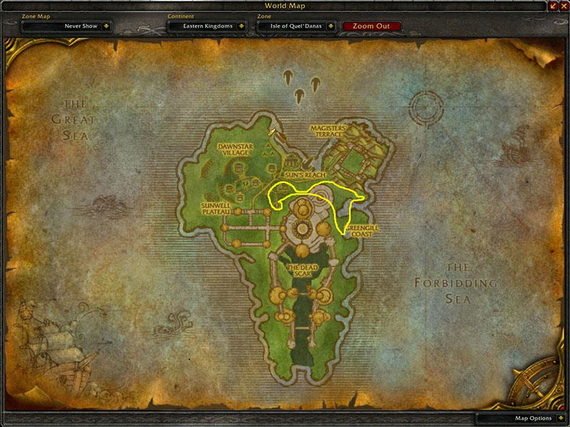 Map of Where to farm herbs at Isle of Quel'Danas for Mana Thistle