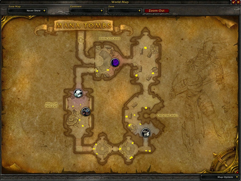 Map of Where to farm herbs at Mana Tombs for Ancient Lichen