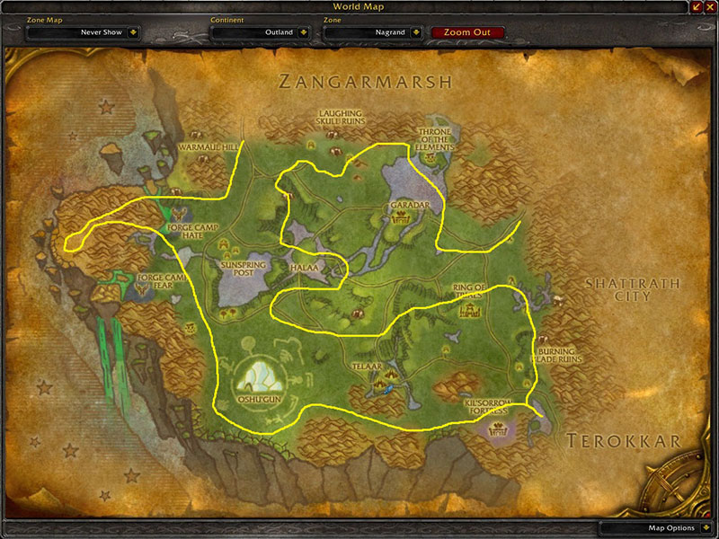 Map of Where to farm herbs at Nagrand for Dreaming Glory