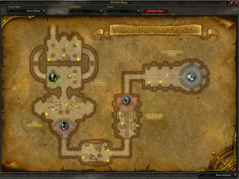 Map of Where to farm herbs at Shadow Labyrinth for Ancient Lichen