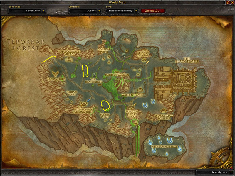 Map of Where to farm herbs at Shadowmoon Valley for Terocone