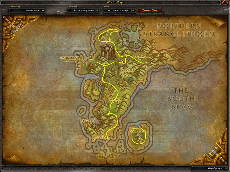 Map of Where to farm herbs at The Cape of Stranglethorn for Khadgar's Whisker
