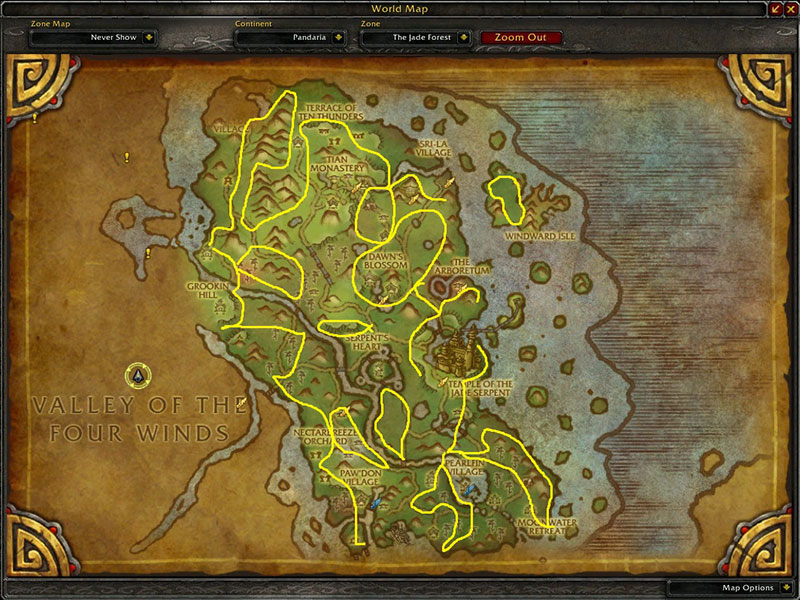 Map of Where to farm herbs at The Jade Forest for Golden Lotus