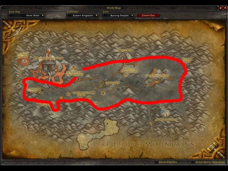 Map of Where to mine in WoW for Gold Ores at Burning Steppes