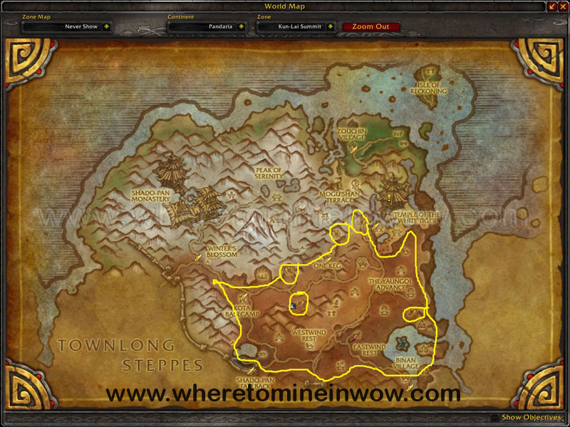 Map of Where to mine in WoW for Ghost Iron Ores at Kun-Lai Summit