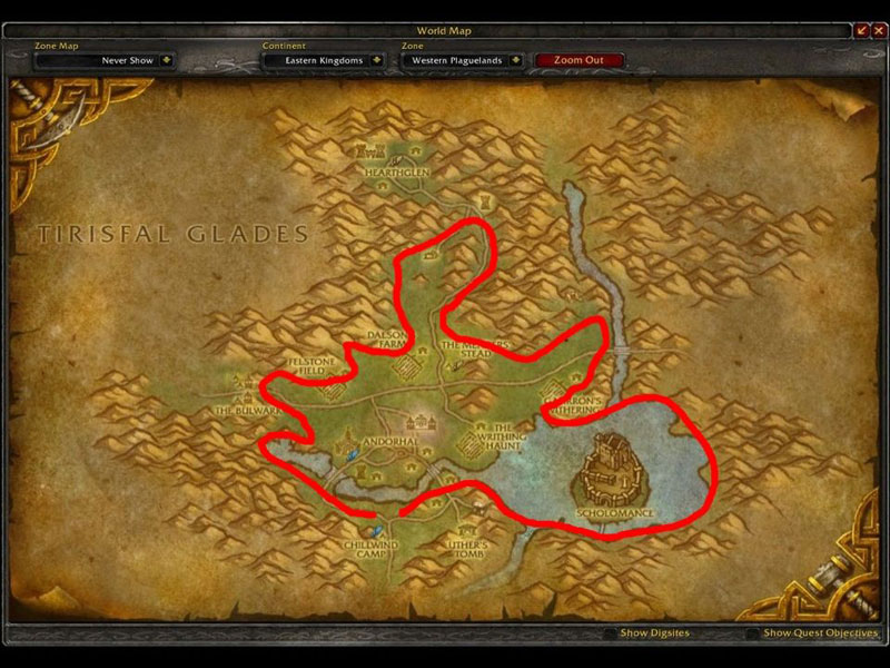Map of Where to mine in WoW for Iron Ores at Western Plaguelands