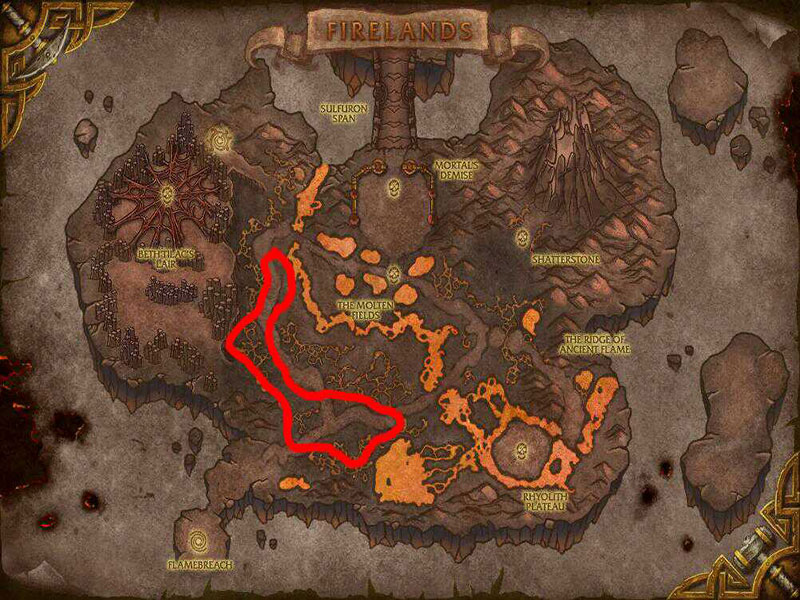 Map of Where to skin at Firelands for Core Leather