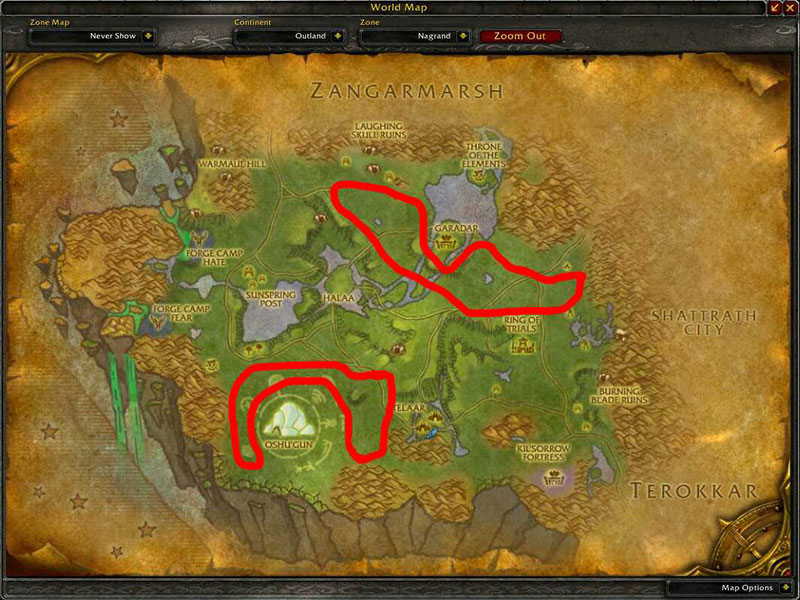 Map of Where to skin at Nagrand for Thick Clefthood Leather