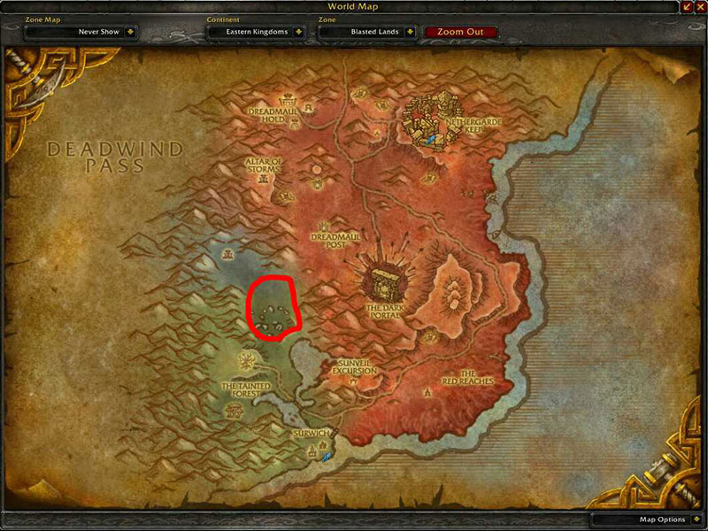 Map of Where to skin at Blasted Lands for Warbear Leather
