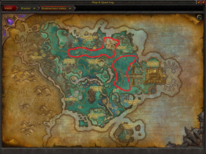 Map of Where to skin Raw Beast Hide Scraps in Shadowmoon Valley
